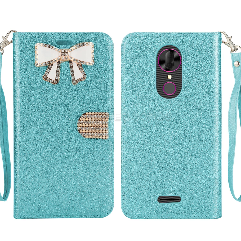 T Mobile Revvl Plus Sparkle Wallet Case With Diamond Butterfly