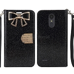 LG Tribute Dynasty SP200/Aristo 2 X210MA Sparkle Wallet Case With Diamond Butterfly Design Black