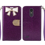LG Tribute Dynasty SP200/Aristo 2 X210MA Sparkle Wallet Case With Diamond Butterfly Design Purple