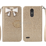 LG Tribute Dynasty SP200/Aristo 2 X210MA Sparkle Wallet Case With Diamond Butterfly Design Gold