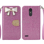 LG Tribute Dynasty SP200/Aristo 2 X210MA Sparkle Wallet Case With Diamond Butterfly Design Pink