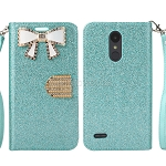 LG Tribute Dynasty SP200/Aristo 2 X210MA Sparkle Wallet Case With Diamond Butterfly Design Blue