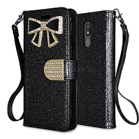 LG Tribute Royal/Aristo 4 Plus/K30 2019/Escape Plus/Arena 2 New Sparkle Diamond Wallet Case Black
