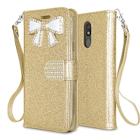 LG Tribute Royal/Aristo 4 Plus/K30 2019/Escape Plus/Arena 2 New Sparkle Diamond Wallet Case Gold