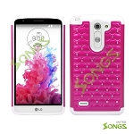 LG G3 Stylus D690 Hybrid Diamond Case Hot Pink/White