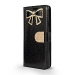 LG G7 ThinQ Sparkle Wallet Case With Diamond Butterfly Design Black