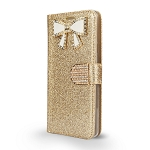 LG G7 ThinQ Sparkle Wallet Case With Diamond Butterfly Design Gold