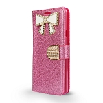 LG G7 ThinQ Sparkle Wallet Case With Diamond Butterfly Design Pink