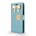 LG G7 ThinQ Sparkle Wallet Case With Diamond Butterfly Design Blue