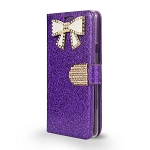 LG G7 ThinQ Sparkle Wallet Case With Diamond Butterfly Design Purple