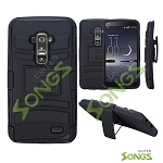 LG G Flex D959 D950 LS995 Hybrid Kickstand Case with Hostel Belt Clip (Super Combo) Black/Black
