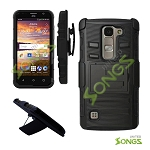 LG H443 H445 C70 Spirit Escape2 Logos H550F Hybrid Kickstand Case with Hostel Belt Clip(Super Combo) Black/Black