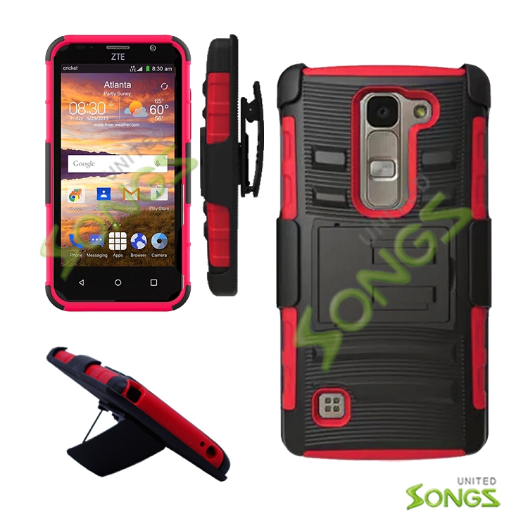 LG H443 H445 C70 Spirit Escape2 Logos H550F Hybrid Kickstand Case with Hostel Belt Clip(Super Combo) Black/Red