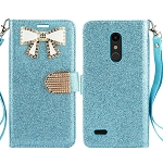 LG K30 Sparkle Diamond Wallet Case With Butterfly Design Blue