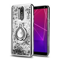 LG K40 New Liquid Glitter Case With Ring Silver