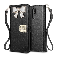LG K40 Sparkle Wallet Case With Diamond Butterfly Design Black