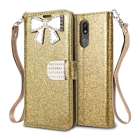 LG K40 Sparkle Wallet Case With Diamond Butterfly Design Gold