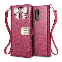 LG K40 Sparkle Wallet Case With Diamond Butterfly Design Pink