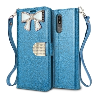 LG K40 Sparkle Wallet Case With Diamond Butterfly Design Blue