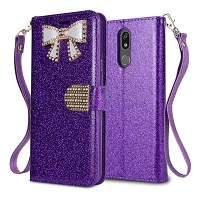 LG K40 Sparkle Wallet Case With Diamond Butterfly Design Purple