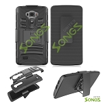 LG G Flex 2 LS996 Hybrid Kickstand Case With Hostel Belt Clip Black/Black