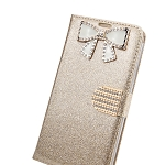 iPhone 6/6S Sparkle Diamond Wallet Case With Butterfly Design Gold