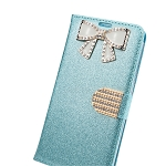 iPhone 6/6S Sparkle Diamond Wallet Case With Butterfly Design Blue