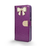 iPhone 6/6S Sparkle Diamond Wallet Case With Butterfly Design Dark Purple