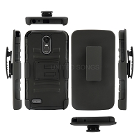LG Stylo 6 New 3 in 1 Hybrid Magnetic Kickstand Case With Belt Clip Black/Black