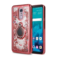 Samsung Galaxy A10 New Liquid Glitter Case With Ring With Ring Red