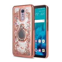Samsung Galaxy A20/A30/A50 New Liquid Glitter Case With Ring Rose Gold