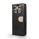 LG Stylo 4 Sparkle Wallet Case With Diamond Butterfly Design Black