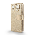 LG Stylo 4 Sparkle Wallet Case With Diamond Butterfly Design Gold