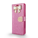 LG Stylo 4 Sparkle Wallet Case With Diamond Butterfly Design Pink