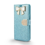 LG Stylo 4 Sparkle Wallet Case With Diamond Butterfly Design Blue
