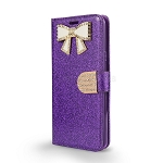LG Stylo 4 Sparkle Wallet Case With Diamond Butterfly Design Purple