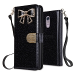 LG Stylo 5 Sparkle Wallet Case With Diamond Butterfly Design Black
