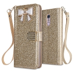 LG Stylo 5 Sparkle Wallet Case With Diamond Butterfly Design Gold