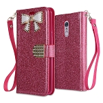 LG Stylo 5 Sparkle Wallet Case With Diamond Butterfly Design Hot Pink
