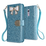 LG Stylo 5 Sparkle Wallet Case With Diamond Butterfly Design Blue