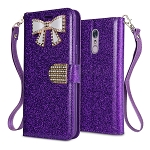LG Stylo 5 Sparkle Wallet Case With Diamond Butterfly Design Purple