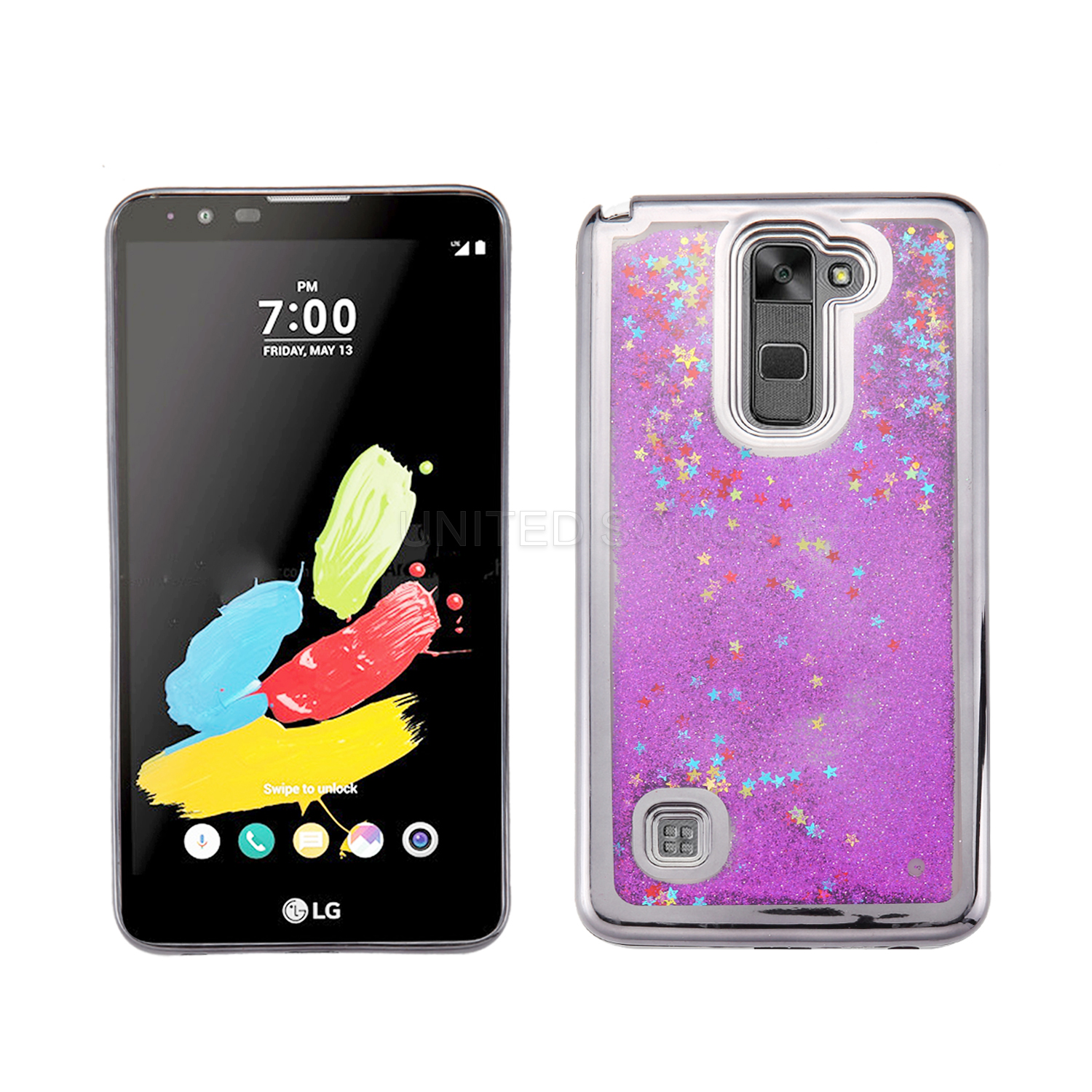 LG G Stylo 3/Stylo 3 Plus Liquid Quicksand Case Gray/Purple