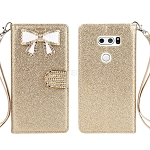 LG V30 Sparkle Diamond Wallet Case With Butterfly Design Gold