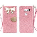 LG V30 Sparkle Diamond Wallet Case With Butterfly Design Pink