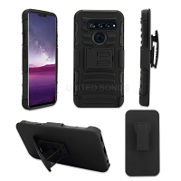 LG Tribute Royal/Aristo 4 Plus/K30 2019/Escape Plus/Arena 2 New 3 in 1 Hybrid Magnetic Kickstand Case With Belt Clip Black/Black
