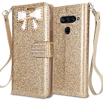 LG V40 ThinQ Sparkle Diamond Wallet Case With Butterfly Design Gold
