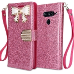 LG V40 ThinQ Sparkle Diamond Wallet Case With Butterfly Design Pink