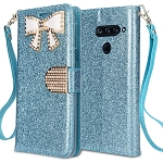 LG V40 ThinQ Sparkle Diamond Wallet Case With Butterfly Design Blue