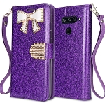 LG V40 ThinQ Sparkle Diamond Wallet Case With Butterfly Design Purple