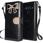 LG V40 ThinQ Sparkle Diamond Wallet Case With Butterfly Design Black